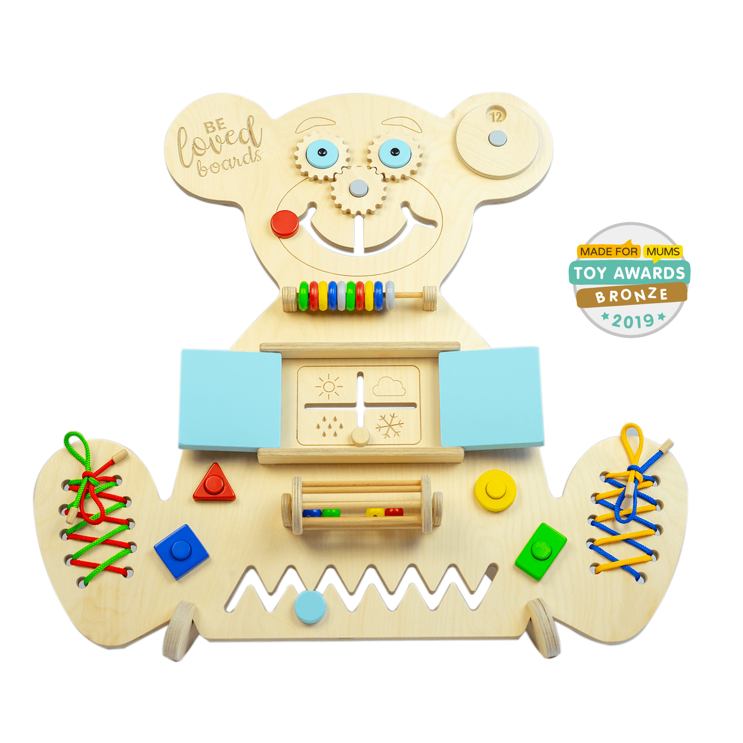 Beloved boards educational wooden busy board Mini Bear blue doors
