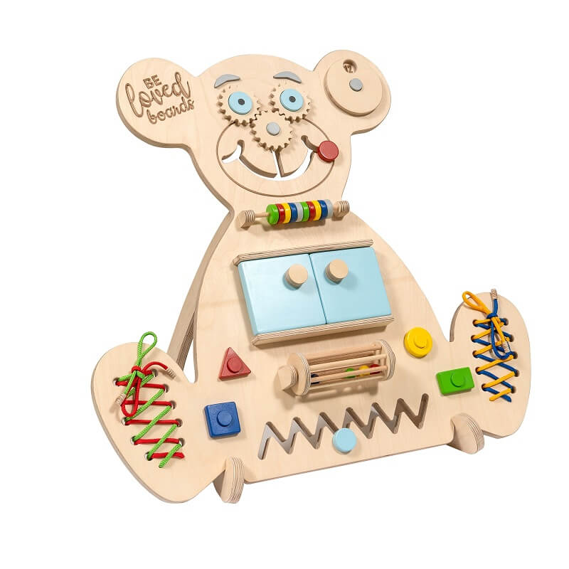 Educational wooden busy board mini bear