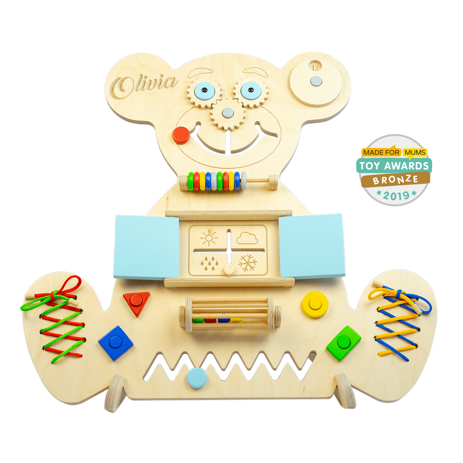 Personalized Busy board – Bear (blue)